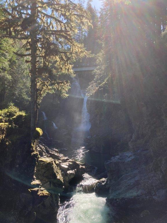 A waterfall in the distance and river and tree in the foreground at the end of a Squamish trails