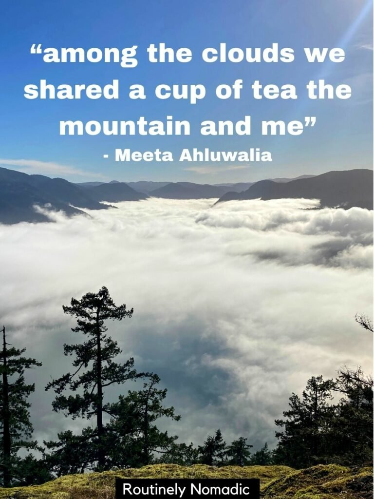 A tree in front with a layer of clouds below and mountains in the distance with a quotes about mountains and clouds on it