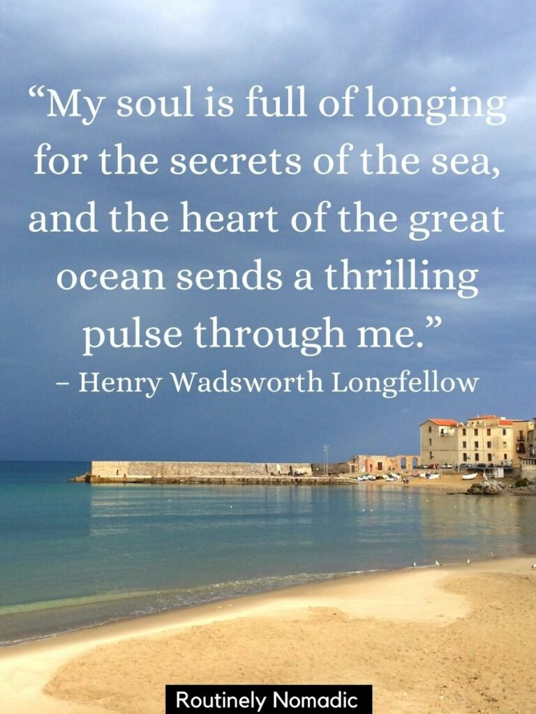 The beach with a town in Sicily and the sea and sky with a sea quotes from Henry Wadsworth Longfellow on to