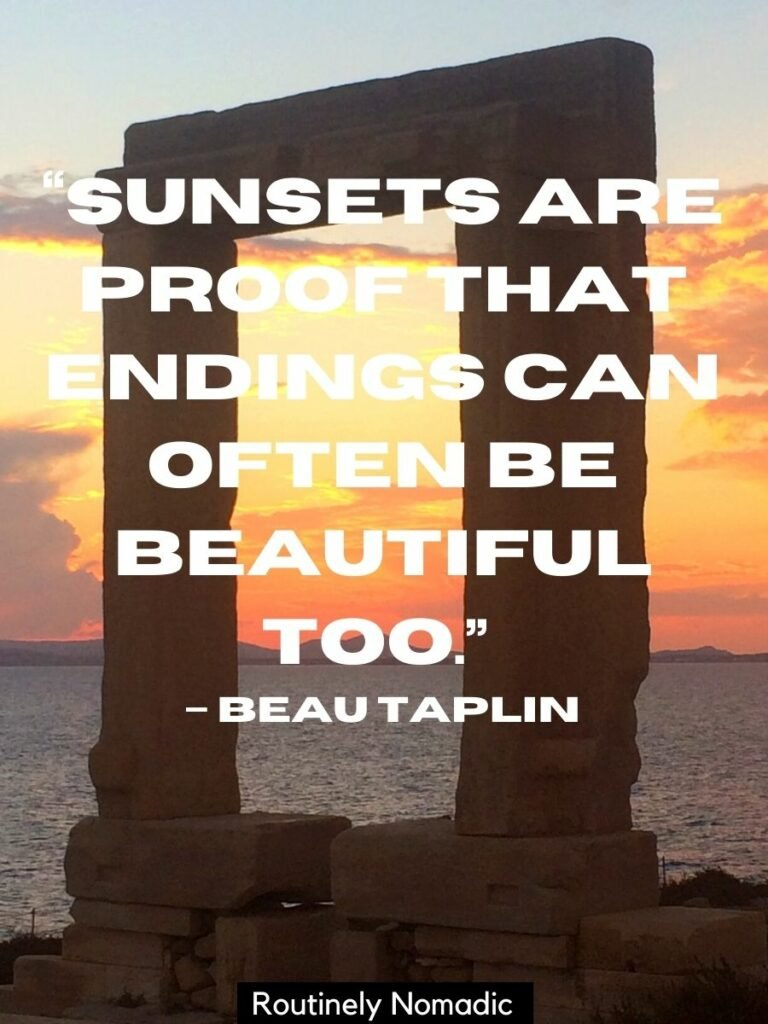 A sunset window on a Greek Island with a simple sunset quote for Instagram that reads sunsets are proof that endings can often be beautiful too