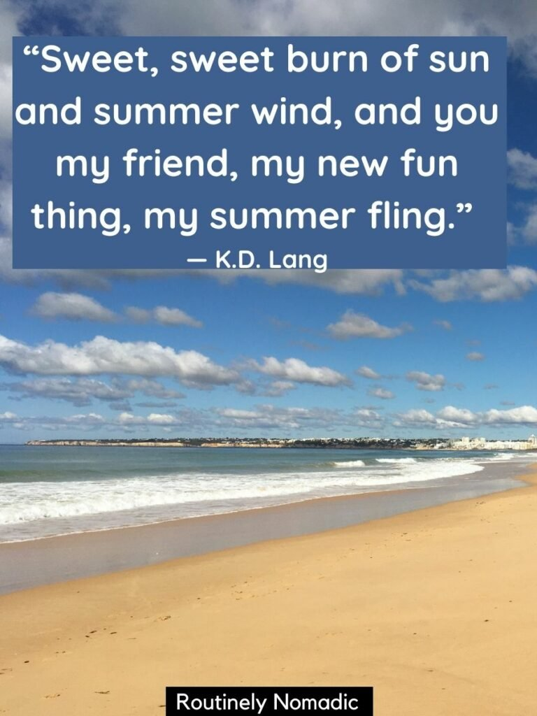 A beach with ocean waves and a sunny days quotes on top