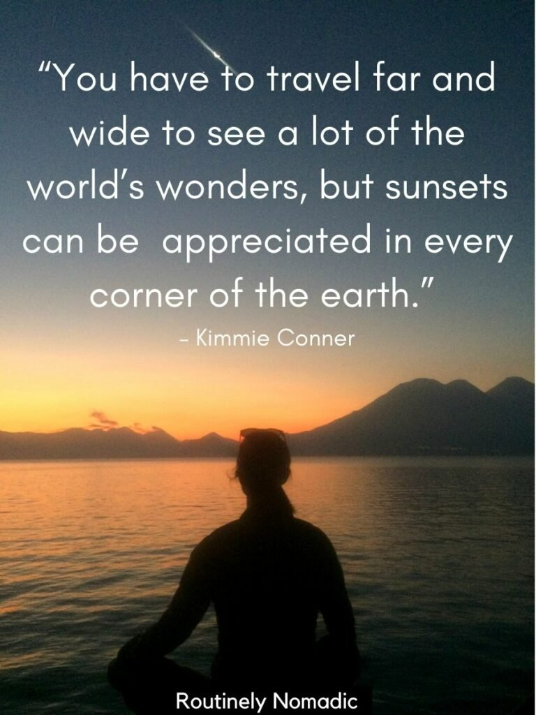 Woman meditating in front of a sunset with a lake and volcanoes and a sunset quotes about life on top