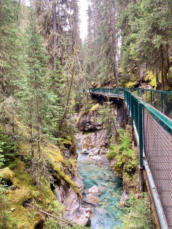 Walkway with railings on a narrow part of the Johnston Canyon hike with a river below and rock walls