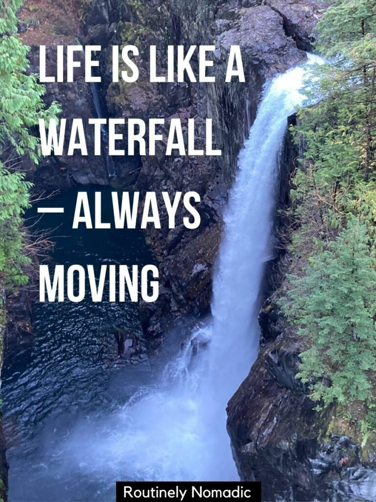 Tall waterfall seen from above with a waterfall captions for Instagram that reads life is like a waterfall - always moving