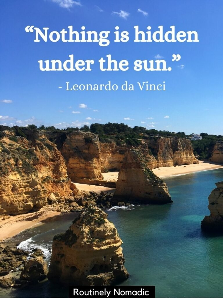 Cliffs along the ocean with a beach and a sun quotes that reads Nothing is hidden under the sun