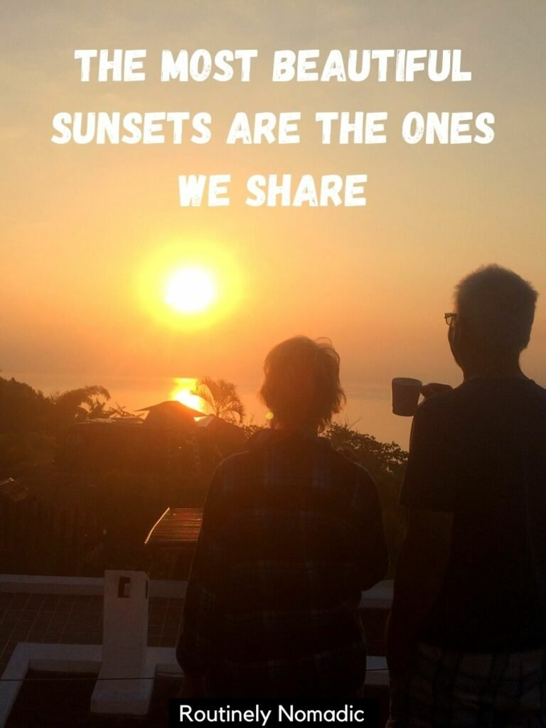 A couple facing the sunset with a love sunset caption that reads the most beautiful sunsets are the ones we share