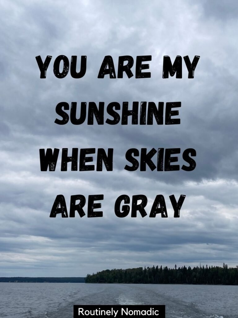 A lake with grey clouds and a cloud captions that says you are the sunshine when skies are grey