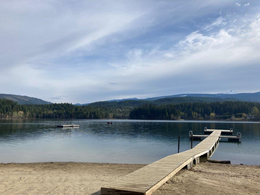 Long dock at a beach at the Dutch Lake in Clearwater BC