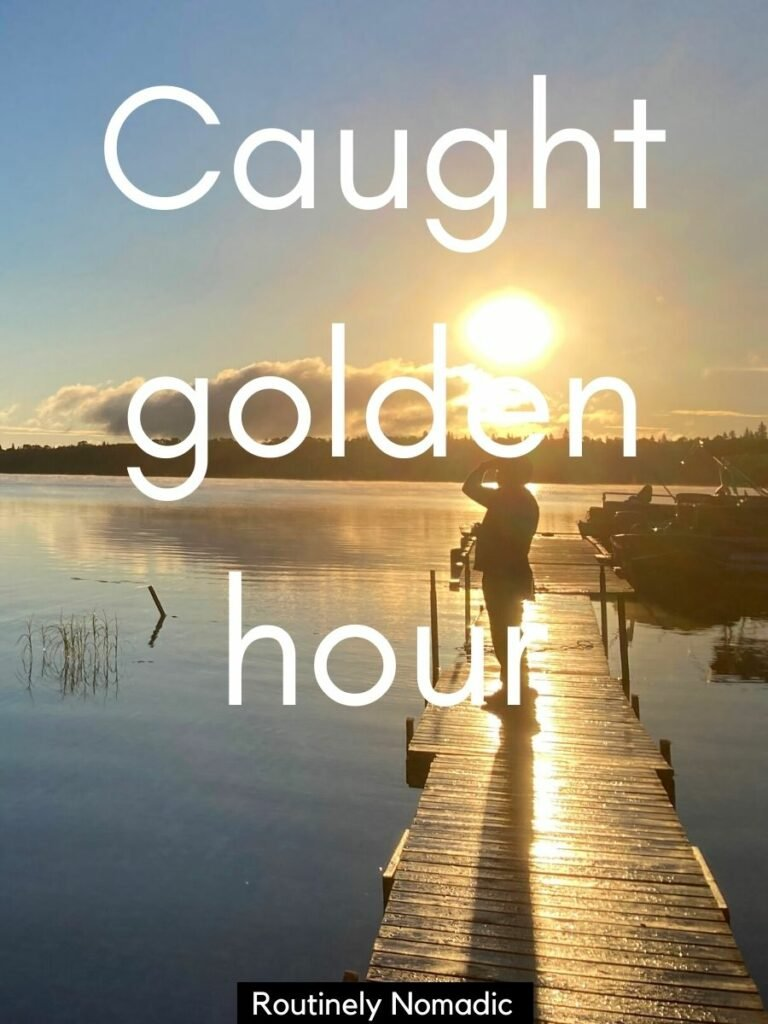 man standing on dock at sunrise with a good golden hour captions for Golden light pics that reads caught golden hour