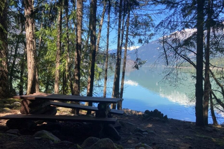Picnic table in the trees in front of a blue lake at the Lizzie Bay Campground at Lillooet Lake camping