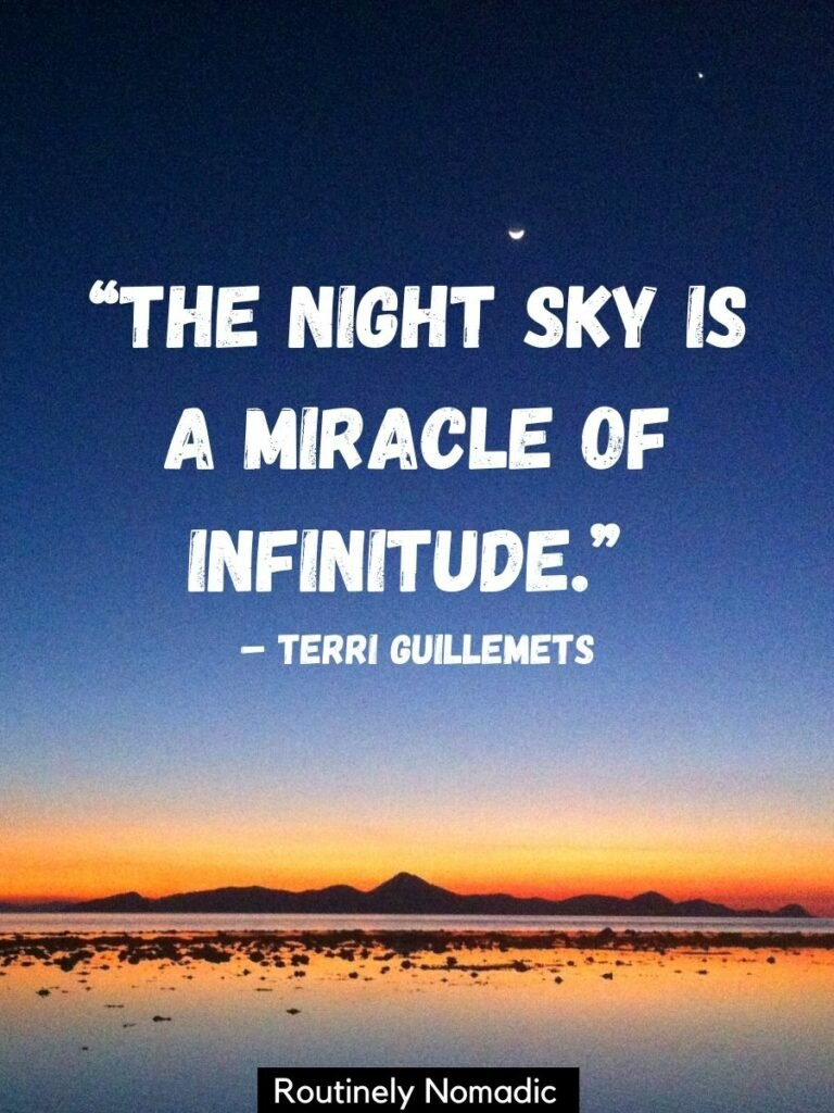 A dark sky with a orange sunset and ocean with a night sky quotes on top that reads the night sky is a miracle of infinitude