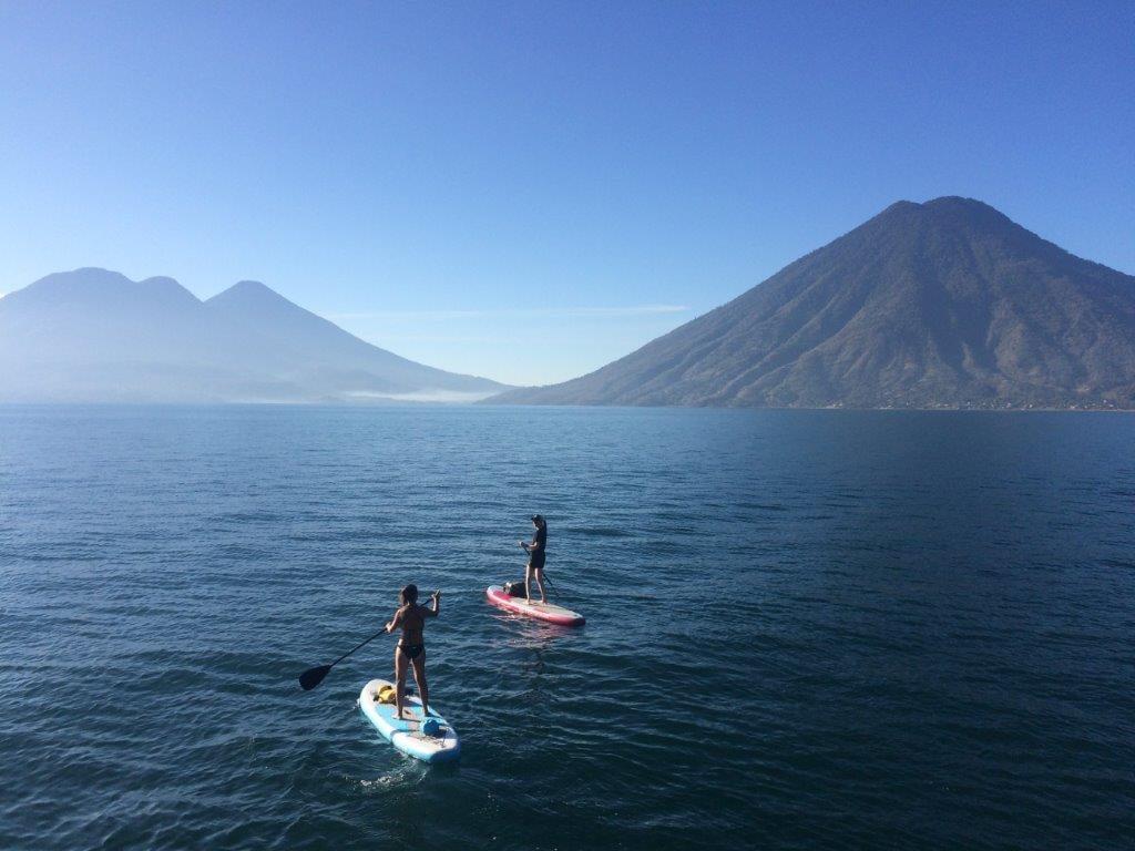 Two paddleboarders on Lake Atitlan