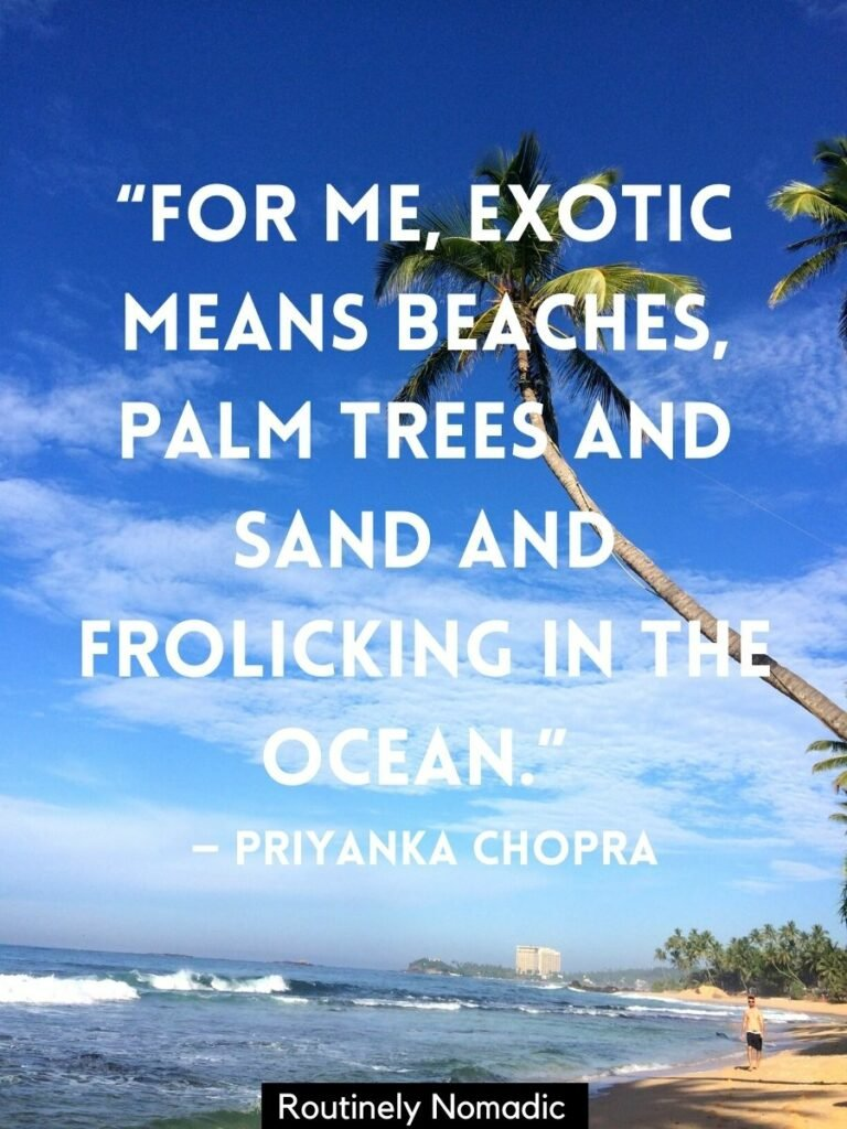 """Man walking on beach under palm tree with a palm tree quotes that reads """"For me, exotic means beaches, palm trees and sand and frolicking in the ocean."""" by Priyanka Chopra quote"""