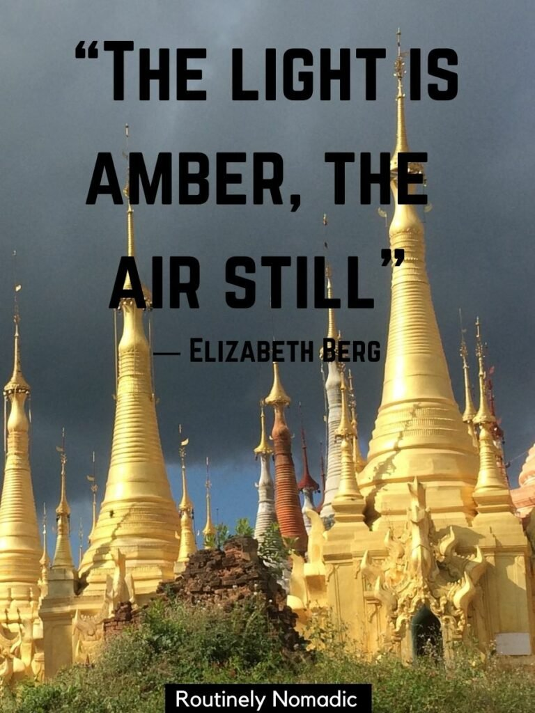Golden temples reflecting the setting sun and a golden hour quotes that reads the light is amber, the air still