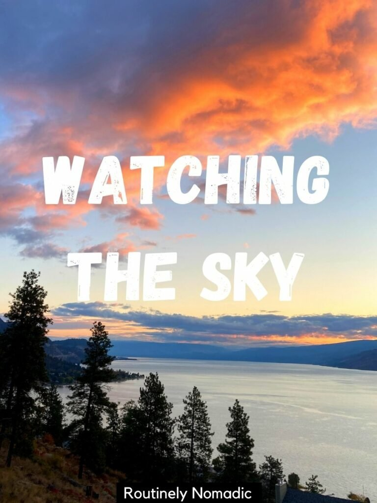 A lake with tree in front at sunset with a short captions for sky that reads watching the sky