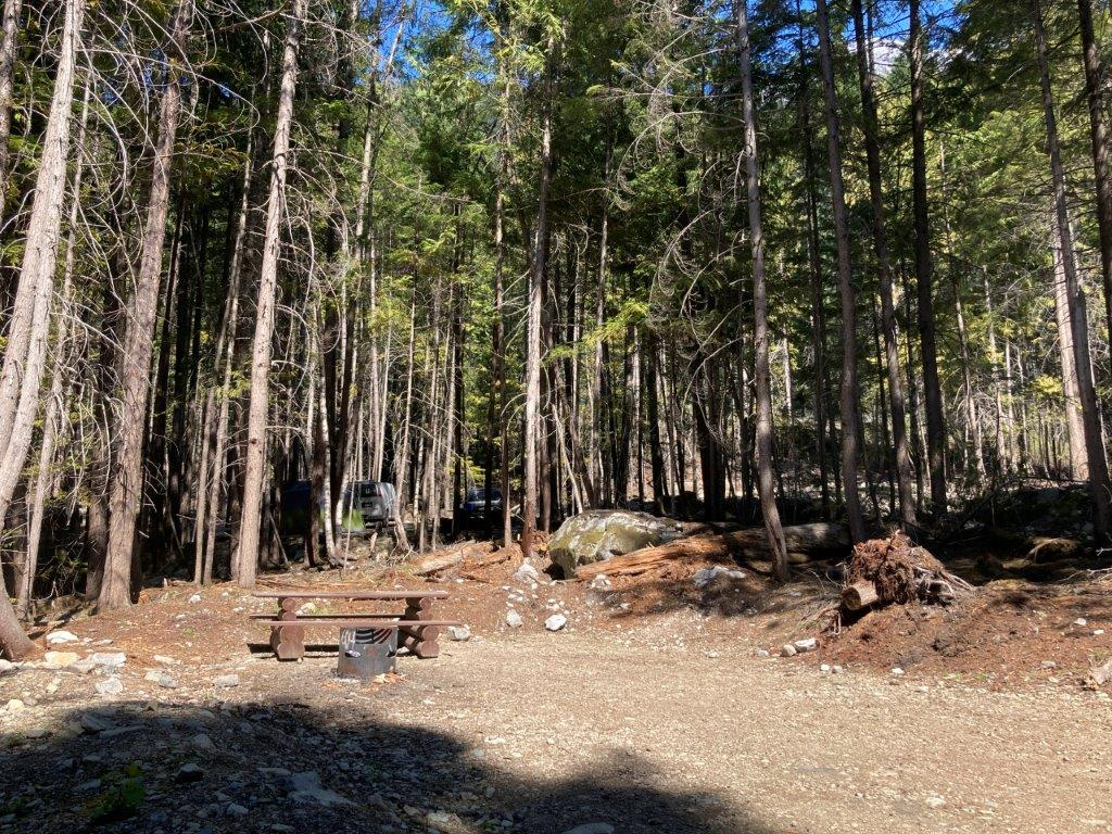 Picnic table at the Strawberry Point Campground the first of Lillooet Lake camping options