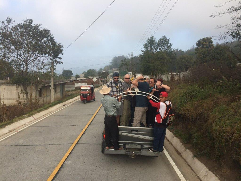 Traveling in the back of a pickup truck around Lake Atitlan