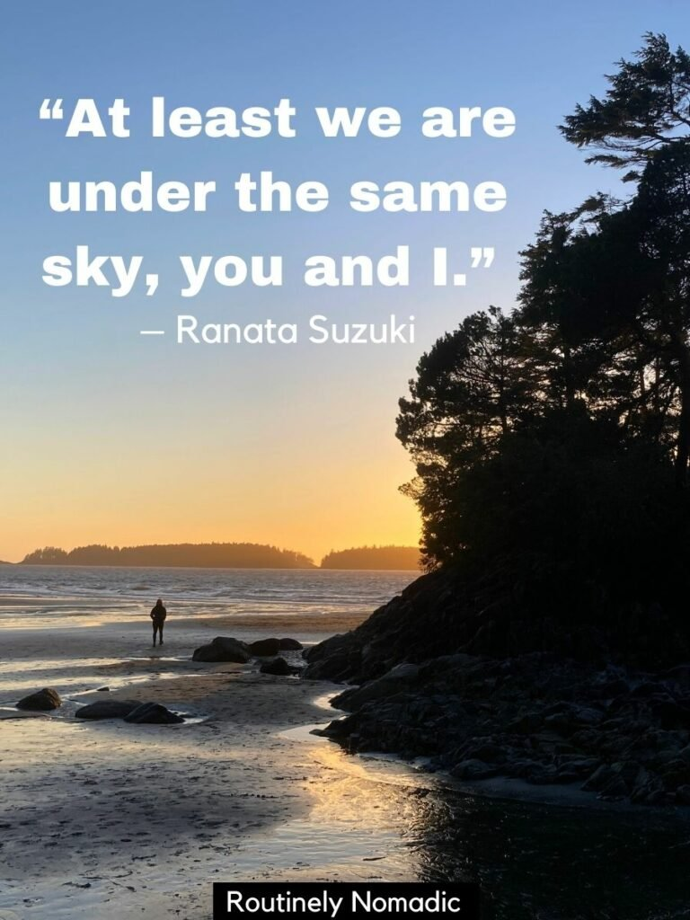 person walking on beach at sunset wieth a Under the Sky Quotes on top
