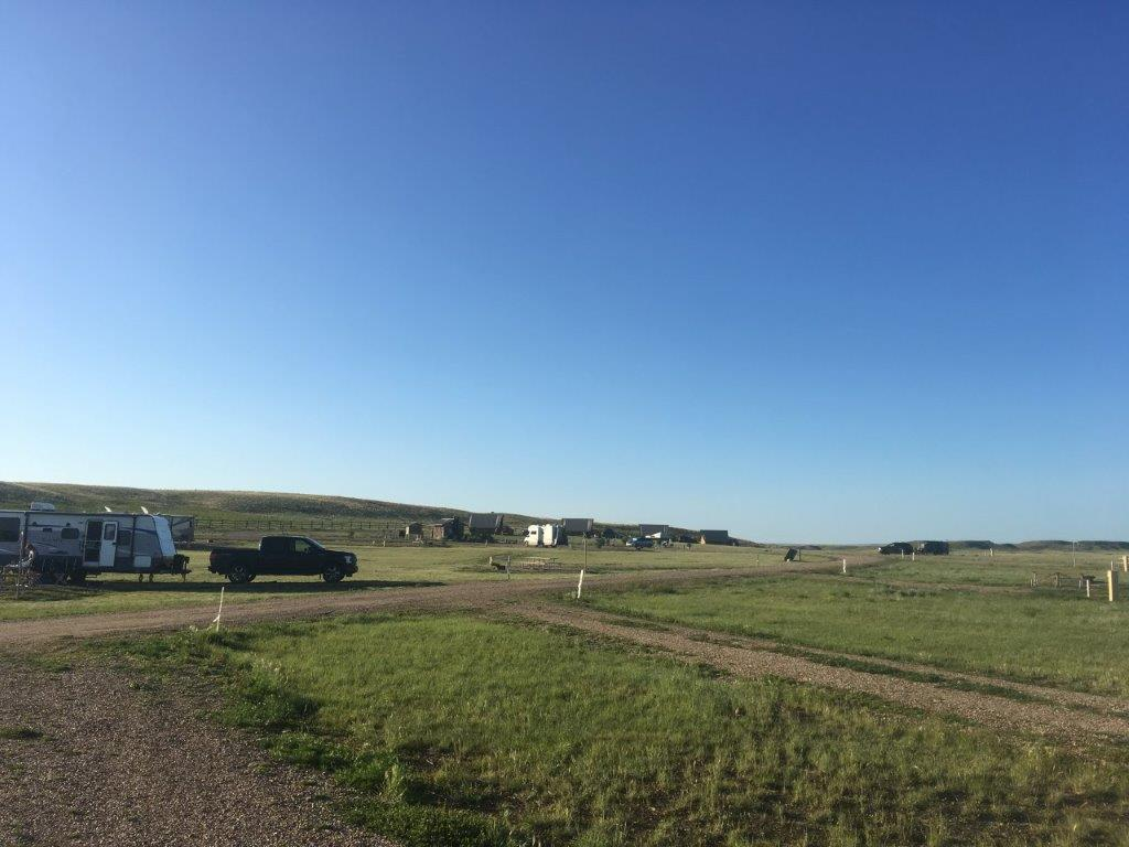 Campsite with no trees at the Grasslands National park campground