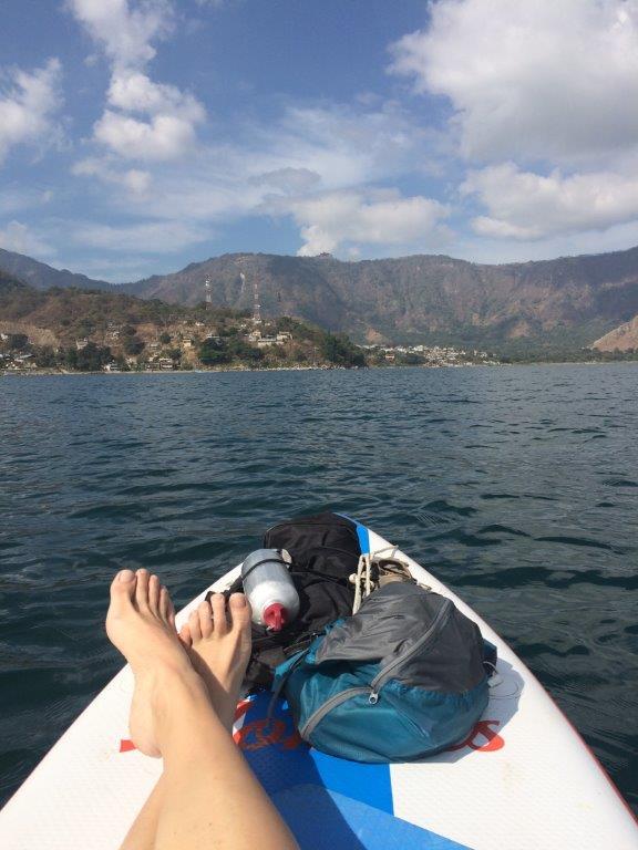 Paddleboard in the middle of Lake Atitlan near San Pedro La Laguna Guatemala