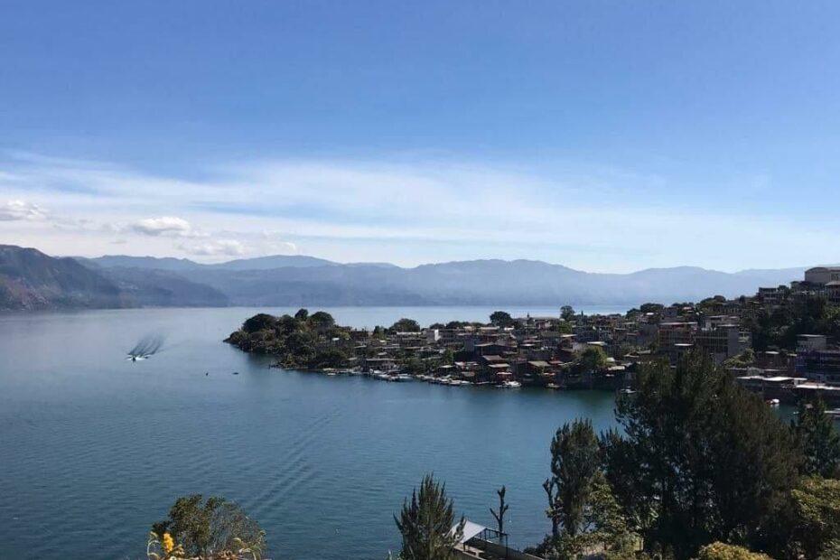 San Pedro La Laguna Guatemala from above on Lake Atitlan with a boat coming into the dock