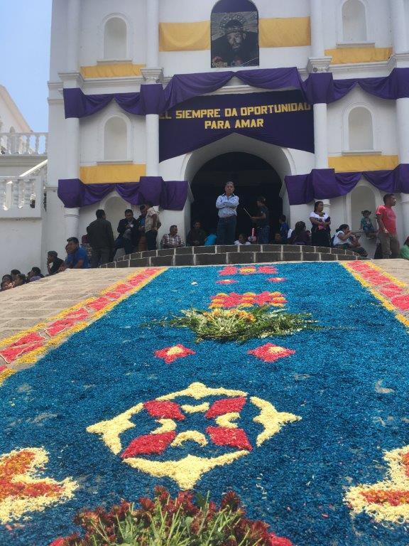 Semana Santa carpet leading to church at San Pedro La Laguna Guatemala