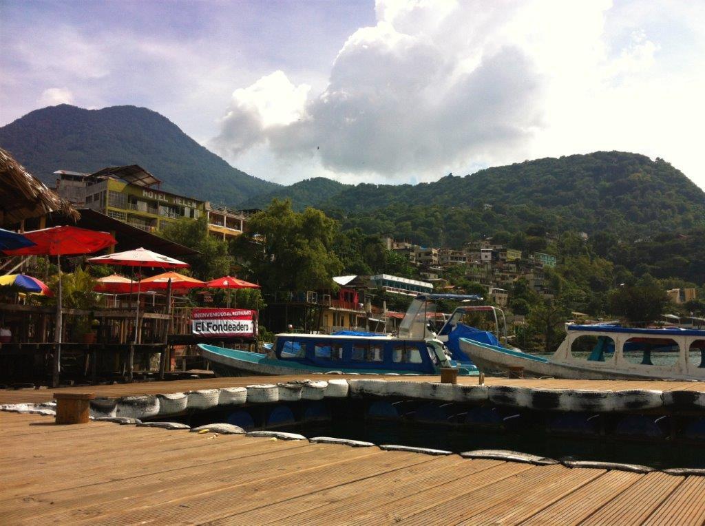 The dock with passenger boats at San Pedro La Laguna Atitlan