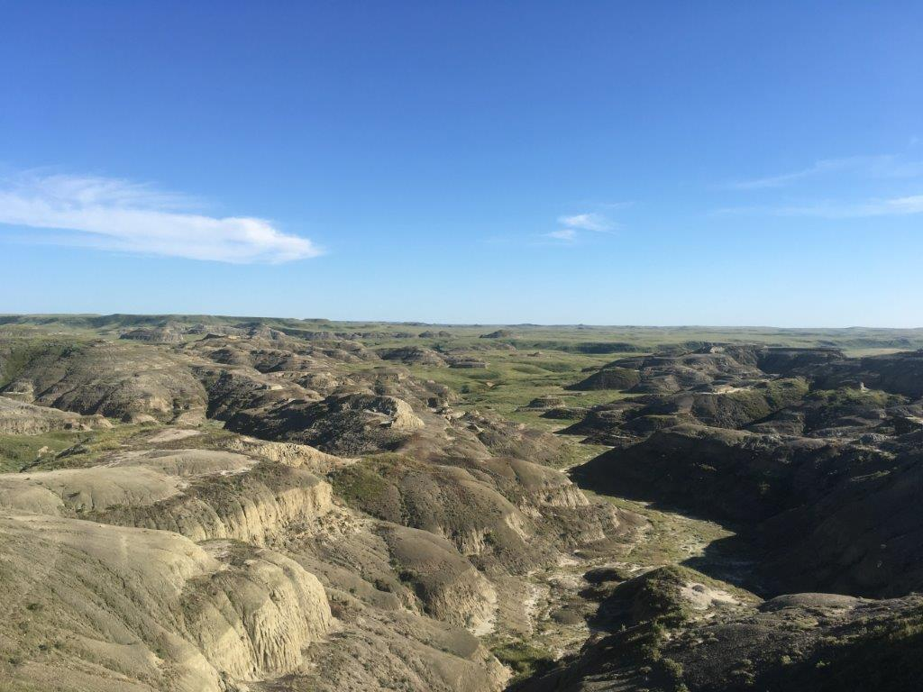 View of a valley with interesting formations on the Valley of 1000 devils hike in Grasslands National Park Saskatchewan