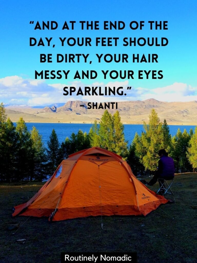 Tent on hill above lake in Mongolia with a cute camping quotes by Shanti