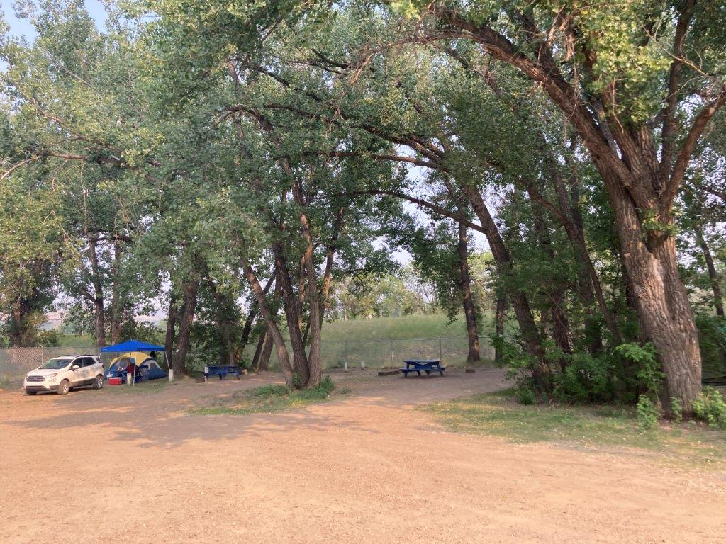 Empty campsite in a Drumheller campground