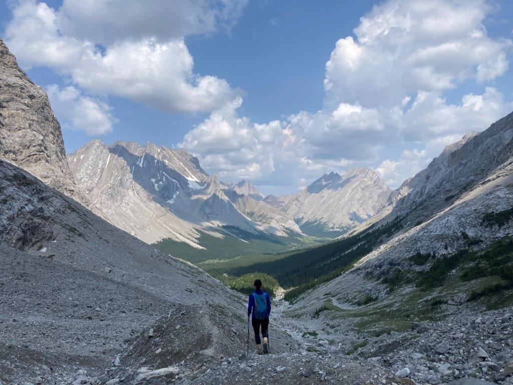 Person hiking down from Rae Glacier, a Elbow Lake hike, above the treeline and mountains spread in front