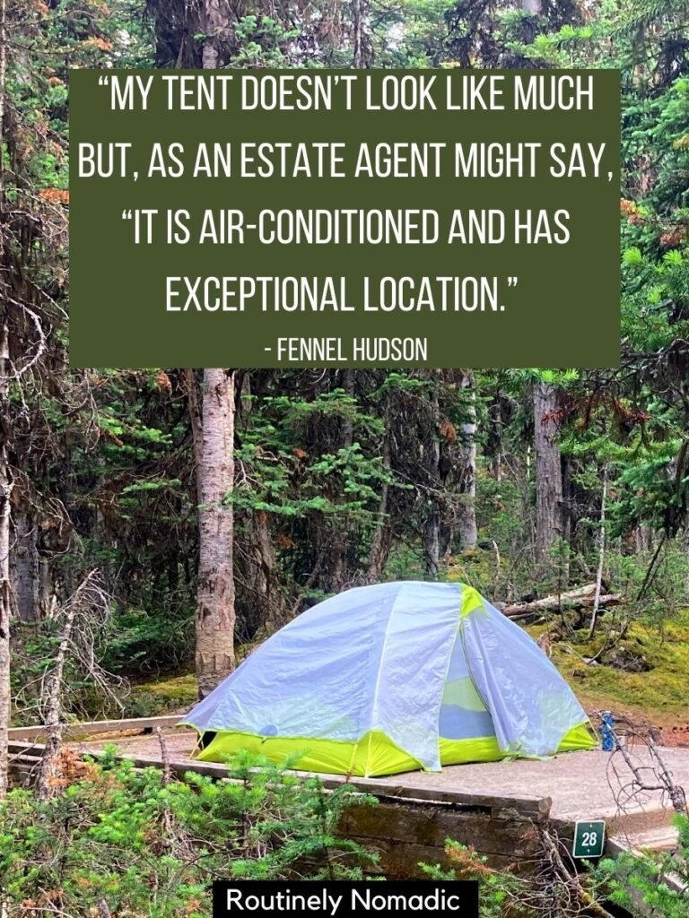 Did you just have the most amazing time camping and are now looking for the perfect camping quotes for Instagram or inspiration? Here are the best cute, funny, hilarious, short, inspirational, clever and about adventure and friends. Find the best one that fits your experience, picture or just inspires you!