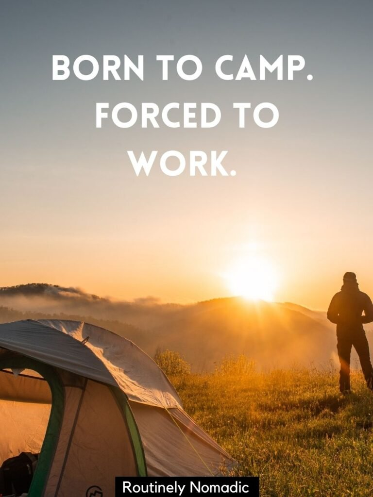 person standing behind tent at sunset with a funny camping captions that reads - born to camp forced to work