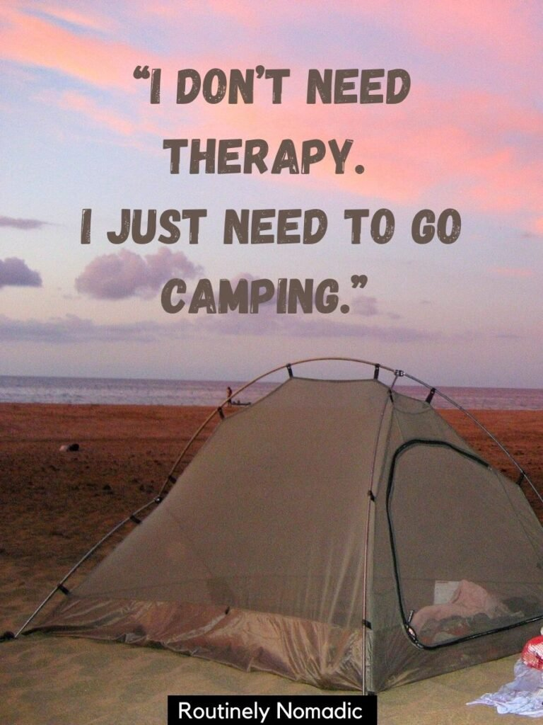 Tent on beach at sunset in Hawaii with a funny camping sayings on top