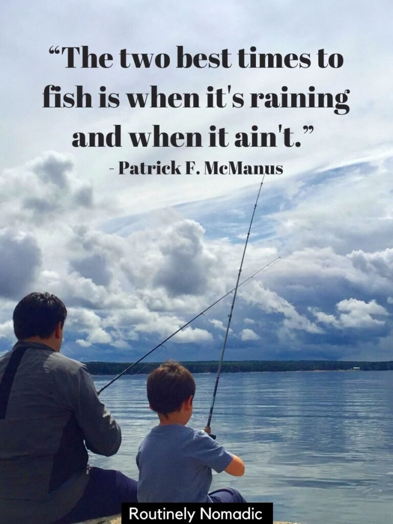 Adult and child fishing beside each other on breakwater with a funny fishing quotes on top