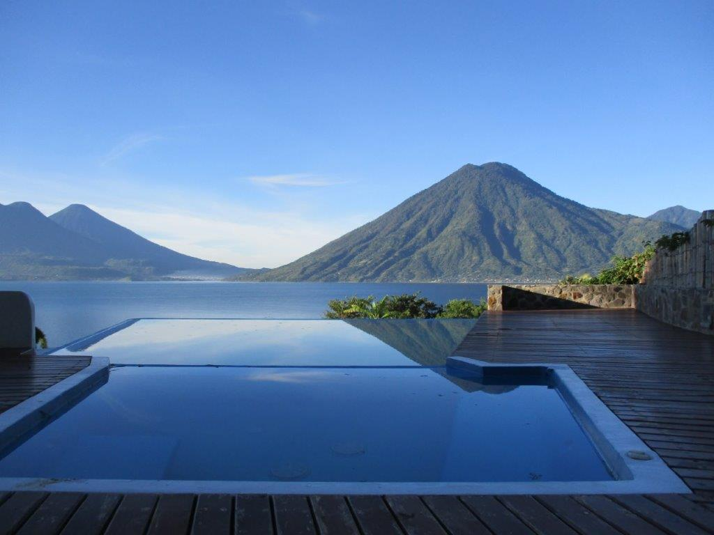 Infinity pool at pool house unit at Pasajcap Rental the answer to where to stay on Lake Atitlan