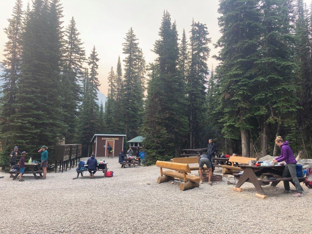 The common area with picnic tables at Lake O'Hara camping