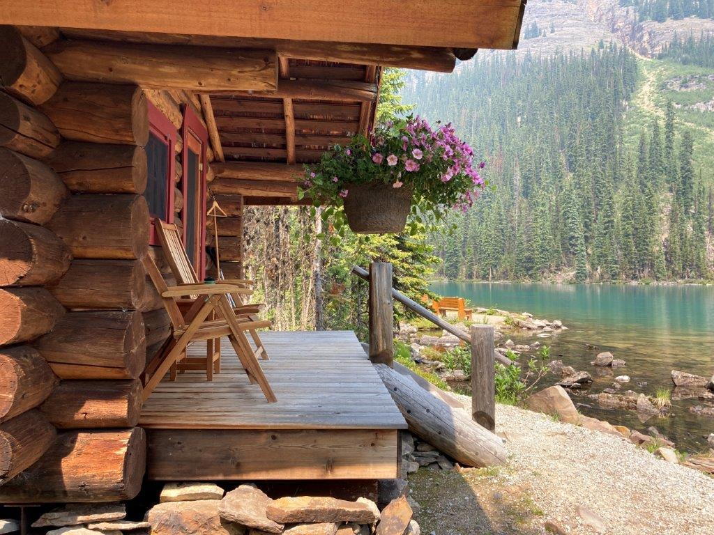Chairs on a deck at the Lake O'Hara Lodge