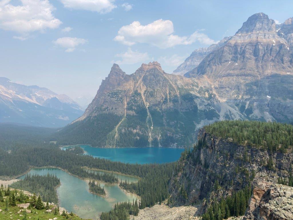 three lakes below mountains on a Lake O'Hara hike