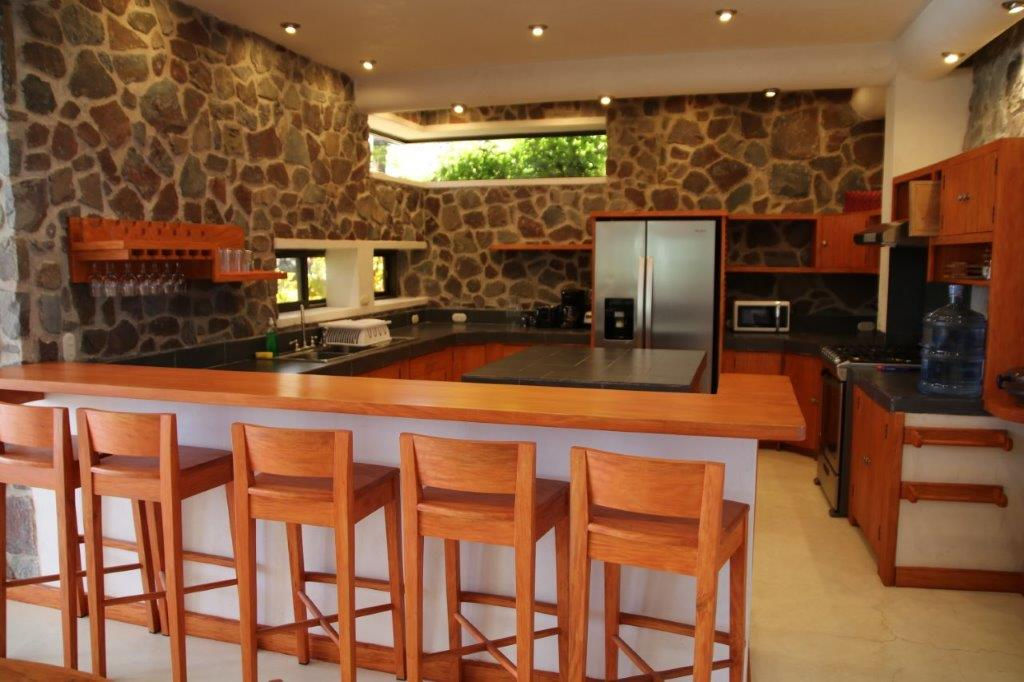 Large kitchen at the pool house at Pasajcap Rental the answer to where to stay on Lake Atitlan