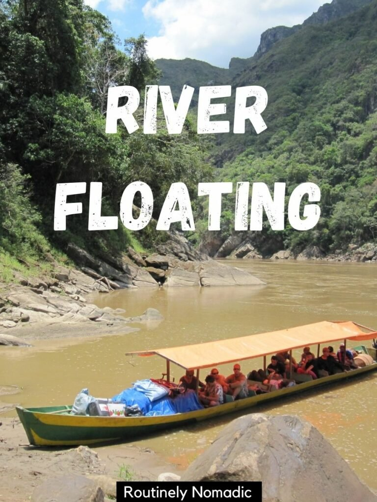 Long boat with people on it on a river and a river boat captions that reads river floating