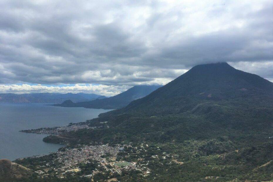 View of San Juan La Laguna, Lake Atitlan, and Volcan San Pedro from above