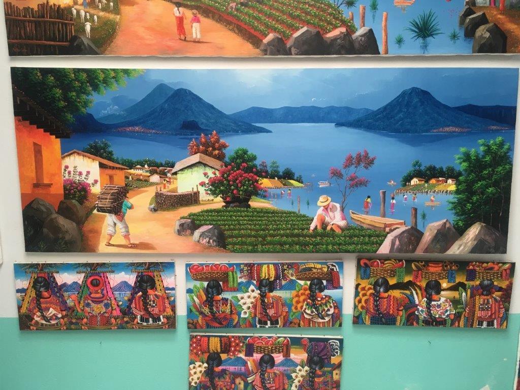 Paintings of local life available in San Juan la Laguna Atitlan