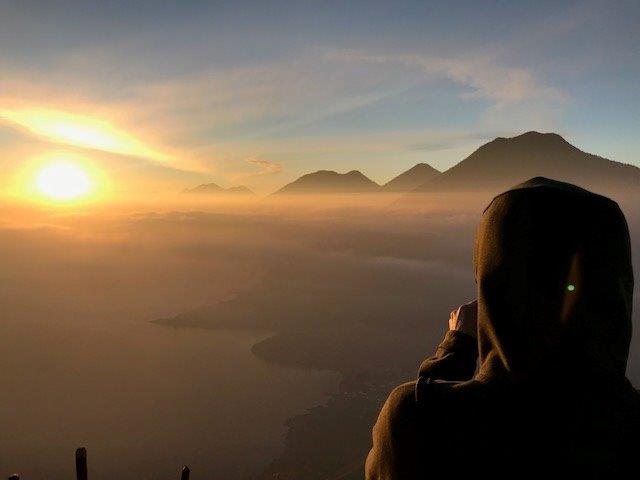 Sunrise view over Lake Atitlan and volcanoes from Indian Nose - San Marcos La Laguna