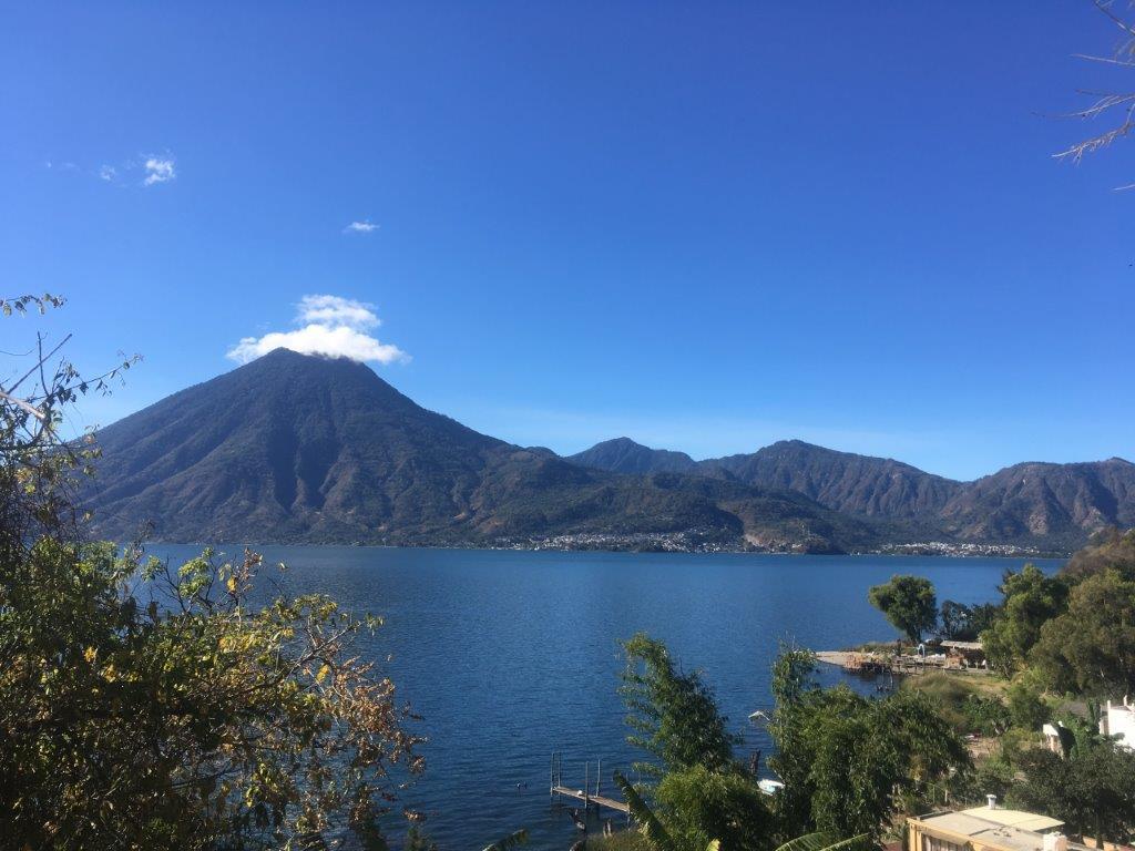 Village of San Marcos La Laguna Guatemala from above an San Pedro across Lake Atitlan