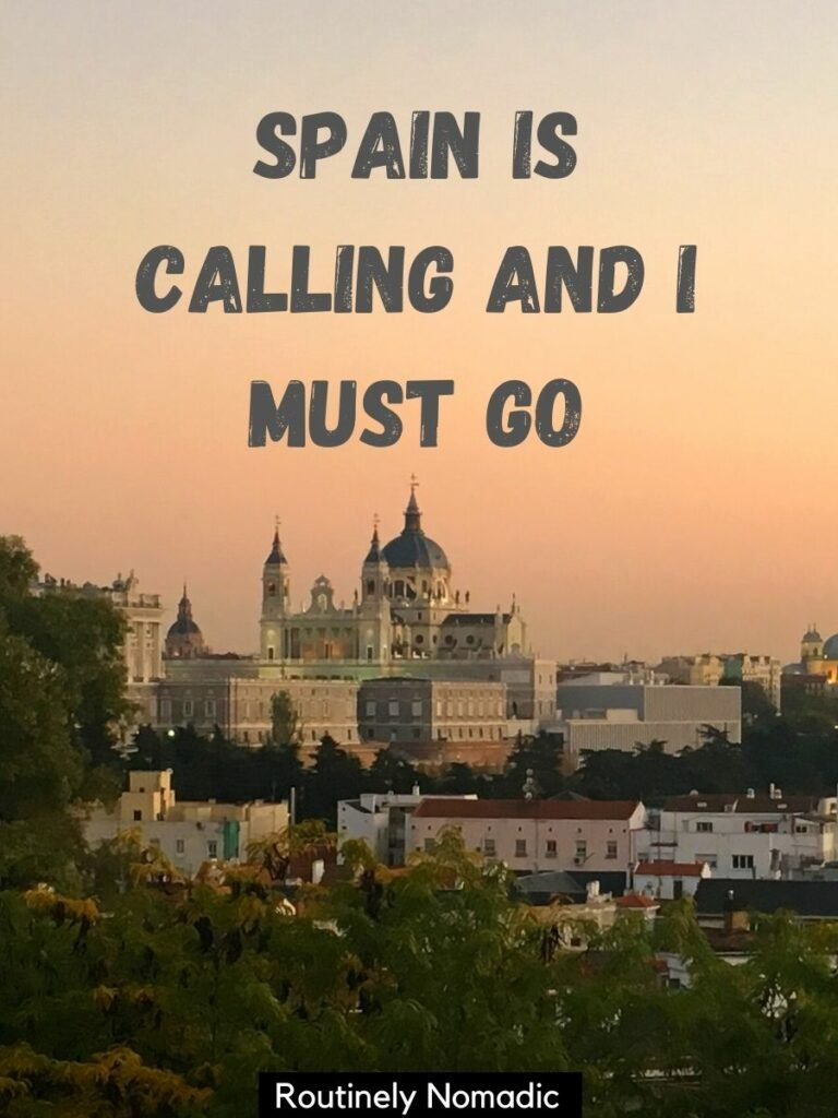 Castle in Madrid at sunset with a Spain travel captions that reads Spain is calling and I must go