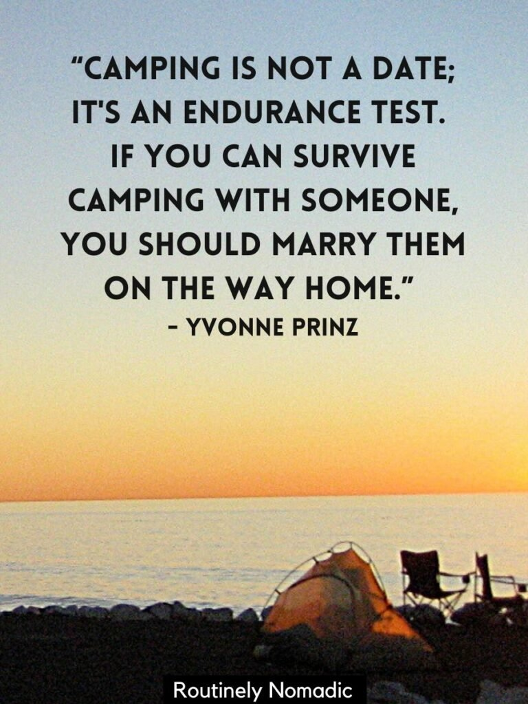 Tent above the ocean at sunset with a funny camping quotes by Yvonne Prinz