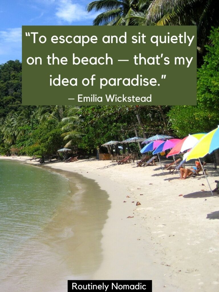 Beach, umbrellas and jungle with beach vacation qutoes by Emilia Wickstead