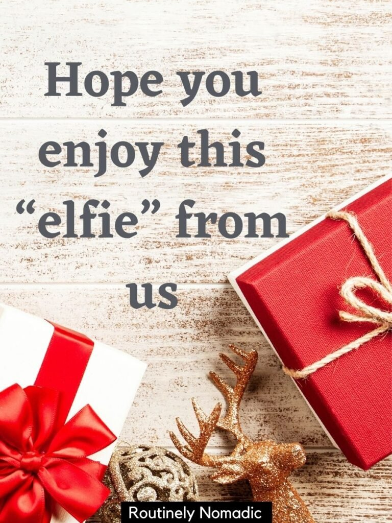 Wrapped presents from above and Christmas captions for couples