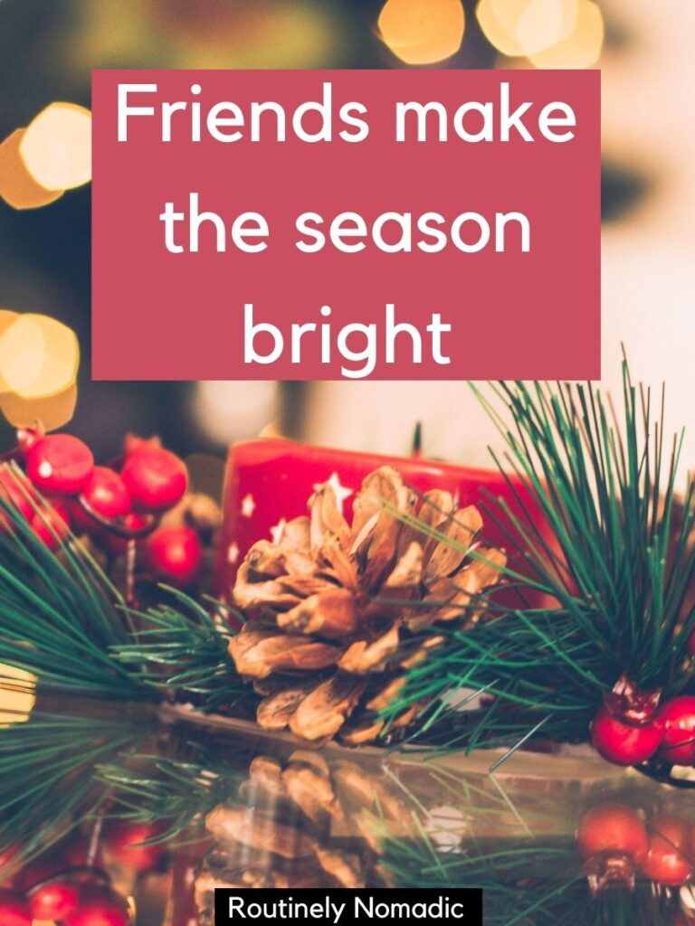 Christmas table decorations with Christmas captions with friends